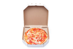 Pizza in box Stock Images