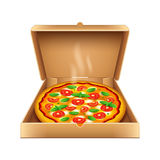 Pizza in box isolated on white vector Royalty Free Stock Photos