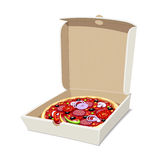Pizza in box. Italian traditional food. Royalty Free Stock Image