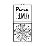 Pizza Box Pizza Delivery. 24 Hours. Label Pizzeria. Design Elements Vector. Illustration Royalty Free Stock Photography