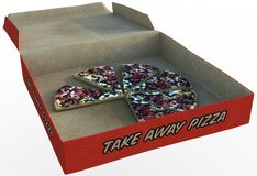 Pizza Box Snack Food Isolated, Slices. Illustration of pizza box and slices of snack food. The yummy carry out is isolated on white. PNG file available royalty free stock images