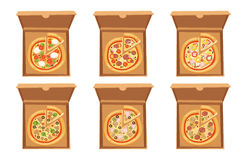Pizza box vector illustration cardboard carton object package isolated paper container food design delivery lunch Royalty Free Stock Photography