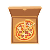 Pizza box vector illustration cardboard carton object package isolated paper container food design delivery lunch Stock Images