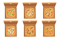 Pizza box vector illustration cardboard carton object package isolated paper container food design delivery lunch Royalty Free Stock Photos