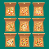 Pizza box vector illustration cardboard carton object package  paper container food design delivery lunch Stock Images