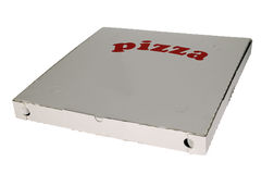 Pizza box on white background. There is a box with label pizza, white background Stock Photo