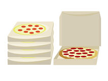Pizza boxes. Open and closed boxes isolated on a white background vector illustration