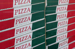 Pizza Boxes. Stacked pizza boxes Royalty Free Stock Photos