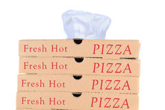 Pizza Boxes with Chef Hat Stock Images