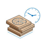 Pizza boxes with clock  on white background Royalty Free Stock Photo
