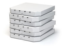 Pizza boxes stack  on white, Royalty Free Stock Image