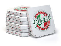 Pizza boxes stack  on white, Stock Photography