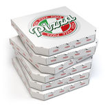 Pizza boxes stack  on white, Royalty Free Stock Images