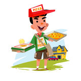 Pizza boy holding pizza box. delivery concept character design - Royalty Free Stock Photo