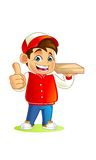 Pizza boy Mascot Cartoon Vector Illustration Stock Photography