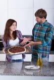 Pizza brûlée avec le feu Photo libre de droits