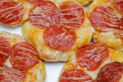 Pizza Bread. Homemade style pizza bread with pepperoni and cheese royalty free stock photos