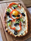 Pizza. Breakfast pizza at brunch Stock Images
