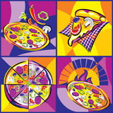 Pizza bright set Stock Image