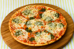 Pizza with Broccoli and Mozzarella Royalty Free Stock Images