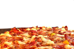 Pizza on the brown plate, isolated Stock Photos