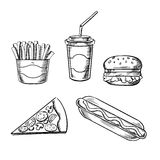Pizza, burger, french fries, hot dog and soda Royalty Free Stock Image