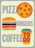 Pizza, Burgers, Coffee. Typographic vintage grunge poster for cafe, bistro, pizzeria. Retro vector illustration. Royalty Free Stock Photo
