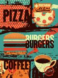 Pizza, Burgers, Coffee. Typographic vintage grunge poster for cafe, bistro, pizzeria. Retro vector illustration. Pizza, Burgers, Coffee. Typographic vintage Royalty Free Stock Photography