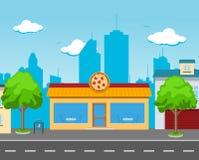 Pizza-Café in der Straße Lizenzfreies Stockfoto