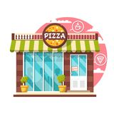 Pizza cafe concept. Flat design city public building with storefront and different interior design elements stock photography