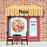Pizza cafe. Cafe pizza. Fast food. Table and chairs at the fore, pizza sticker on window. Red brick facade. Vector illustration Stock Photo