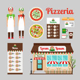 Pizza Cafe front design icons set Royalty Free Stock Photography
