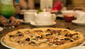 Pizza in cafe stock photo