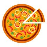 Pizza calda rotonda con i pomodori e le olive nello stile piano vector l'illustrazione di pizza affettata isolata su fondo bianco illustrazione vettoriale