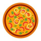 Pizza calda rotonda con i pomodori e le olive nello stile piano vector l'illustrazione di pizza isolata su fondo bianco insieme illustrazione di stock