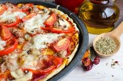 Pizza caliente del italiano de la carne Foto de archivo libre de regalías