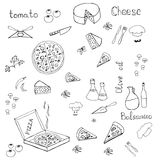 Pizza caliente en caja con los tomates, mashrooms, queso Fotografía de archivo libre de regalías