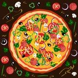 Pizza caliente redonda del cartel Imagen de archivo