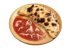 Pizza Calzone isolado no branco Fotografia de Stock Royalty Free