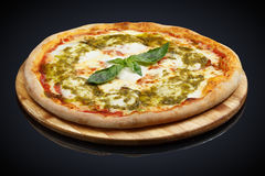 Pizza Caprese with basil royalty free stock photo