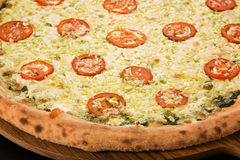 Pizza Caprese with basil stock photos