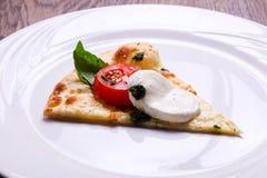 Pizza Caprese with basil. And mozarella stock photo