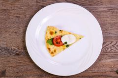 Pizza Caprese with basil. And mozarella royalty free stock photo