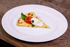 Pizza Caprese with basil. And mozarella stock photography