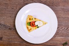 Pizza Caprese with basil. And mozarella royalty free stock images