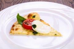 Pizza Caprese with basil. And mozarella stock photos
