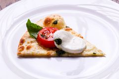 Pizza Caprese with basil. And mozarella royalty free stock photos