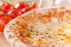 Pizza Capricciosa with cherry tomato and mushrooms in the background Royalty Free Stock Image