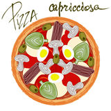 Pizza capricciosa with handwritten caption Stock Photography