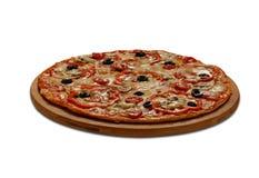 Pizza Capricciosa Sur le blanc photo stock